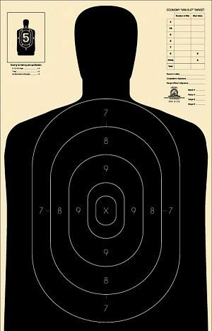 Official NRA B-27E Paper Shooting Targets, Silhouette, 23