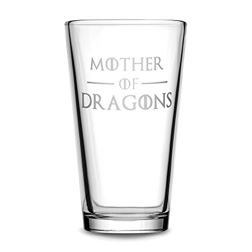 Integrity Bottles Premium Game of Thrones Pint Glass, Mother of Dragons, Hand Etched 15.3 oz Beer Glass, Made in USA, Mixing Gifts, Sand Carved