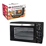 Quest 35399 Mini Oven with Rotisserie, 20 Litre, 1500 Watt, 45.5 x 36.2 x 28.1cm, Stainless Steel, W, 20 liters