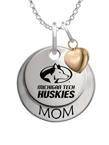 Michigan Tech Huskies Sterling Silver Stacked MOM Charm Necklace with Heart Accent