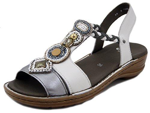 argento 1237275 Ara Bianco Sandalo 4cm Zeppa Pelle In qZUPv