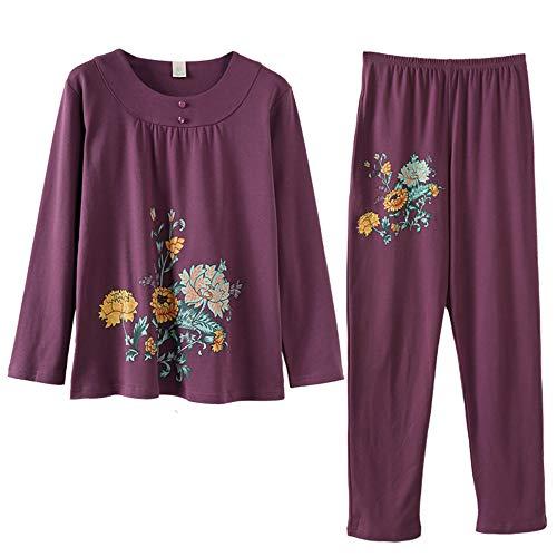 Y nbsp; Pijamas nbsp;crisantemosuelto Para De Gran Mujer Otoño Manga Color Tamaño Photo Mmllse Larga Algodón Estampado De Conjunto Primavera O1qww0