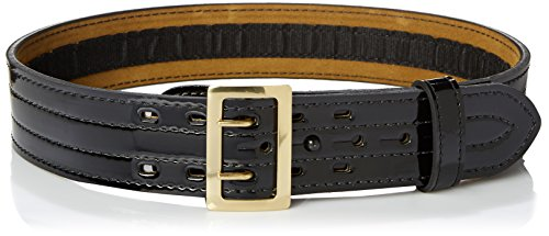 Belt Lined Gloss Duty (Safariland 87V Duty Belt With Hook Fastener Lining, High Gloss Black, Brass Buckle, Size 36)