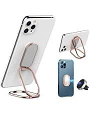 Hrcprd Cell Phone Ring Holder Finger Kickstand 360° Foldable Swivel Phone Stand Metal Back Ring Grip Foldable Ring Stand for Magnetic Car Mount iPhone and All Smart Phones(Pink)