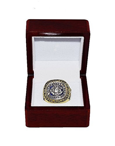 (CHICAGO BEARS (William Perry) 1985 SUPER BOWL XX WORLD CHAMPIONS Vintage Rare & Collectible High-Quality Replica Gold NFL Football Championship Ring with Cherrywood Display Box)