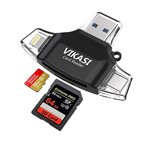 (VIKASI SD Card Reader,Memory Micro SD Card Reader USB Type C Adapter Viewer Compatible with iPhone iPad Android Mac - with Lightning Micro USB Type C 4 in 1 (Black))