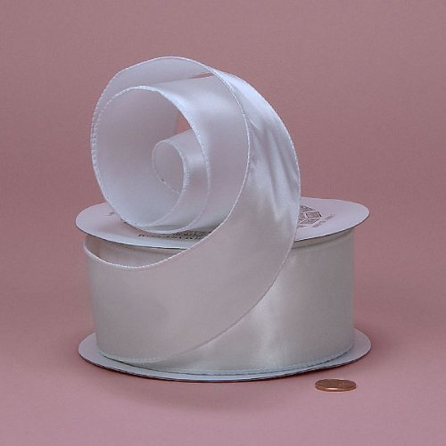 White Cast-Over Wired Satin Ribbon, 7/8