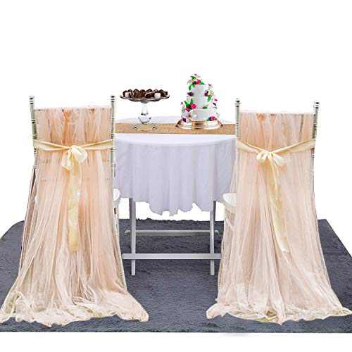Tutu Chair Skirts Bridal Chair Covers Wedding Tulle Slipcovers for Bridal Shower Party Decorations (2pcs Skirts)