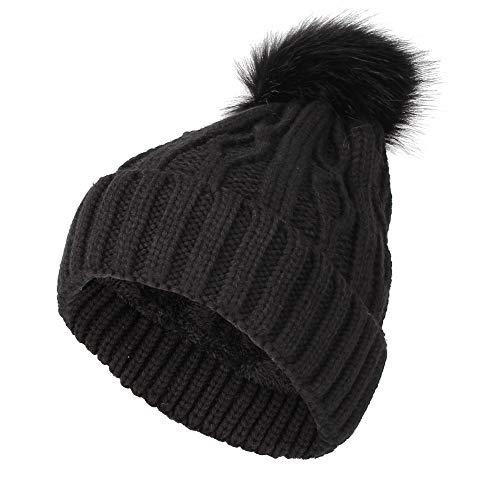 fleece twist knit pom beanie winter hat
