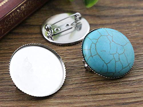 (Kamas (No Fade) 10pcs 25mm Inner Size 2 Style Stainless Steel Material Brooch Style Cabochon Base Cameo Setting Charms Pendant Tray - (Color: A5-18))