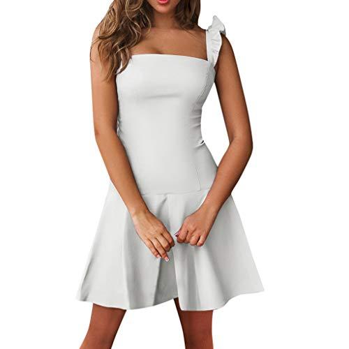 (【MOHOLL】 Women Ruffle Mini Dress,O Neck Short Sleeve Tiered Casual Mini Dress Sleeveless Solid Dress Slash Neck White)