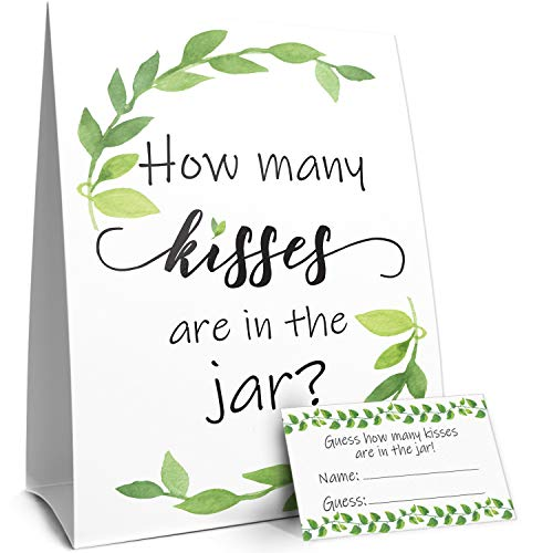 How Many Kisses Game | Greenery Theme | Standing Sign and 30 Guess Cards ()
