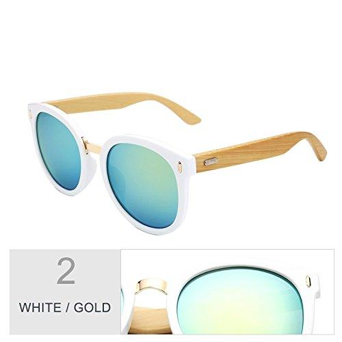De Mujeres Hombre Gafas Gafas De White Bambú Gafas Sol Blanco Macho De Mujer Gafas Retro Verde Madera Uv400 Unisex Oculos Gafas Gafas De TIANLIANG04 De Gold Sol Moda qw6ItU