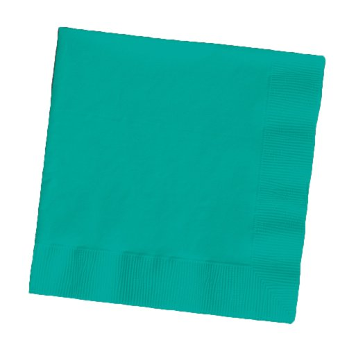 Touch of Color 2-Ply 50 Count Paper Beverage Napkins, Tropical Teal (Teal Beverage Napkin)