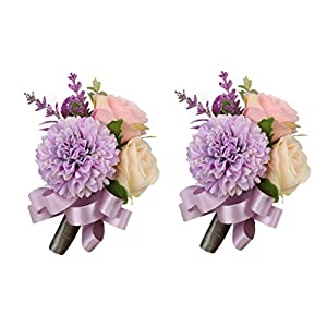 USIX 2pc Pack-Handmade Men's Lapel Artificial Rose Dahlia Flower Boutonniere Pin for Suit Wedding Groom Groomsmen Brooch Rose Boutonniere (Lavender Boutonniere x2) 53