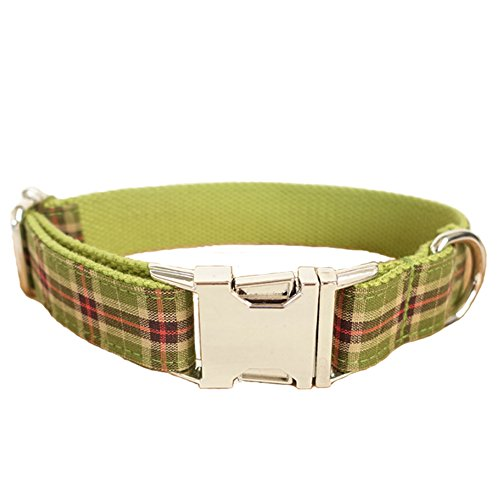 PENIVO Handmade Luxury Collar Adjustable Dog Collars Stripes Designer Green Plaid Nylon with Metal Buckle for Small Medium Large Pet Dogs,5 Sizes