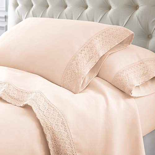 - 4 Pc Classic Blush Pink Twin Sheet Set, Beautiful Sleek Simple Crochet Daisy Lace Hem Solid Color Farmhouse Bedding, Sophisticated Soft Microfiber Sheets, Luxurious Fully Elasticized Fitted Sheet