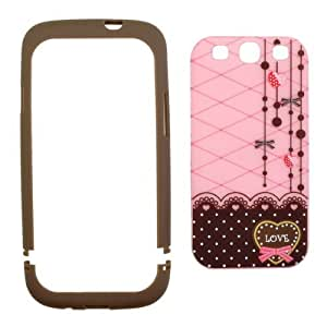 Brown and Pink Polka Dot Pattern Hard Case with Red Heart Love Design For Samsung Galaxy S3 III i9300 (Android) by Maris's Diary
