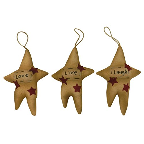 "CVHOMEDECO. Primitive Vintage ""Love, Live, Laugh"" Hanging Stuffed Stars Christmas Party Tree Hanging Décor Xmas Gifts, 7-1/2 H, Set of (Primitive Star Ornaments)"