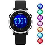 Kid Watch Multi Function 50M Waterproof Sport LED Alarm Stopwatch Digital Child Wristwatch for Boy Girl Black