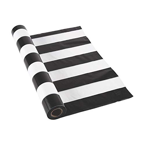 Black and White Striped Tablecloth Roll (100 ft)]()