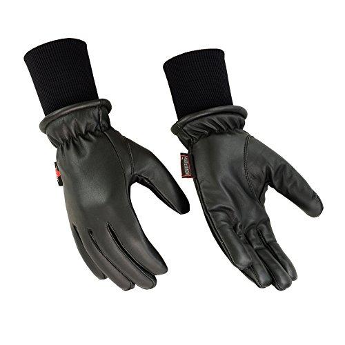 レディース冬暖かい防水レザーMotorcycle and Driving Glove with Longセーターニット袖口