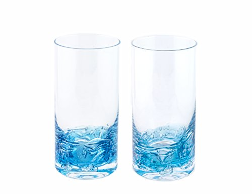 NÄU Zone Jovian Collection Highball Glasses [Set of 2]: Beautiful Hand-Blown 12-oz Cocktail Glasses, Perfect for Cocktails, Water, Beer, Juice, or Any Mixed Drink - [Deep Blue]