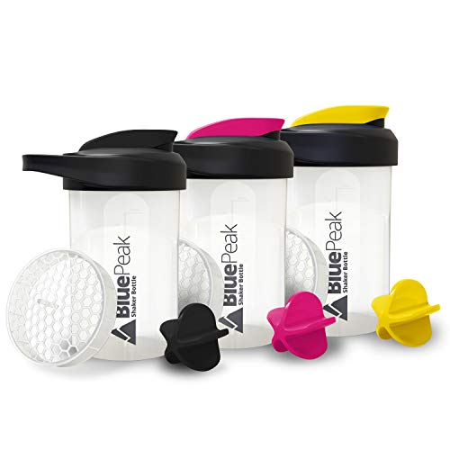 BluePeak Protein Shaker Bottle 20-Ounce, with Dual Mixing Technology. BPA Free, Shaker Balls & Mixing Grids Included (Black, Yellow & Pink)