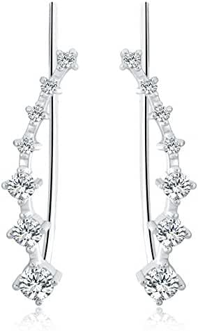 Osiana Womens CZ Crystal Leaf Ear Wrap Cuffs Climber Earrings Sweep Stud Earring Pin