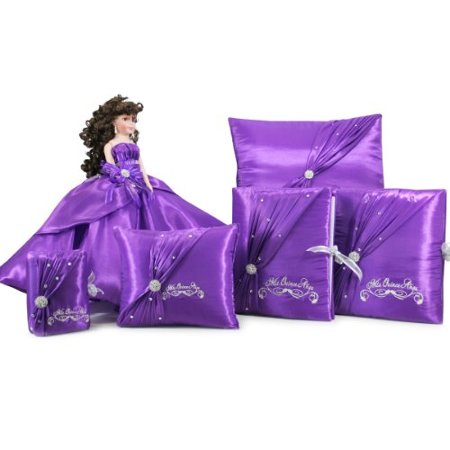 Quinceanera Doll Set with Photo Album Guest Book Bible Pillow Set Q1022 (Basic Set + English Bible) by Quinceanera