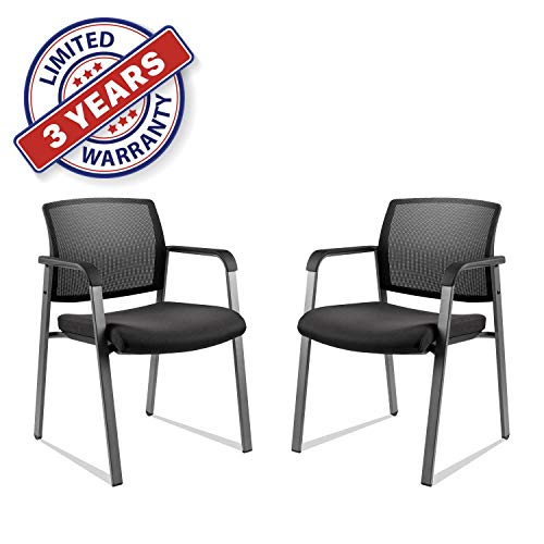 Mesh Back Stack Arm Chairs with Upholstered Fabric Seat and