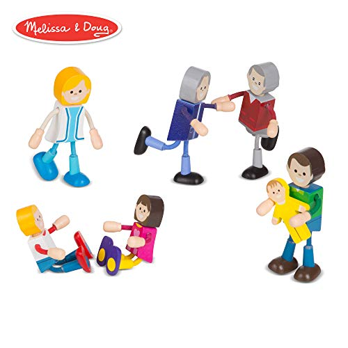 Melissa & Doug Wooden Flexible Figures- Family Dolls for Dollhouses