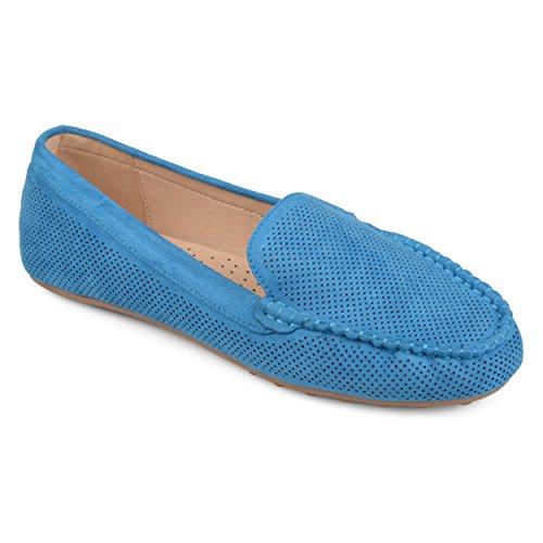 Journee Samling Kvinners Laser Cut Komfort Eneste Loafers Blå