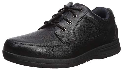 Nunn Bush Men's Cam Moc Toe Oxford Casual Lace-Up, Black Tumbled, 9 Wide US (Nunn Bush Colton Mens Leather Walking Shoes)
