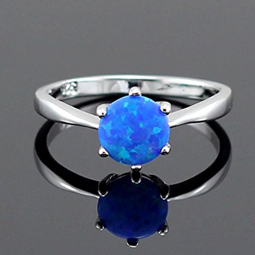 Hours Round Sapphire - Auwer Ring, Hot Sale Jewerly Gift, European And American Sapphire Ring Accessories Lady Simple Ring Tail Ring (6, Blue)