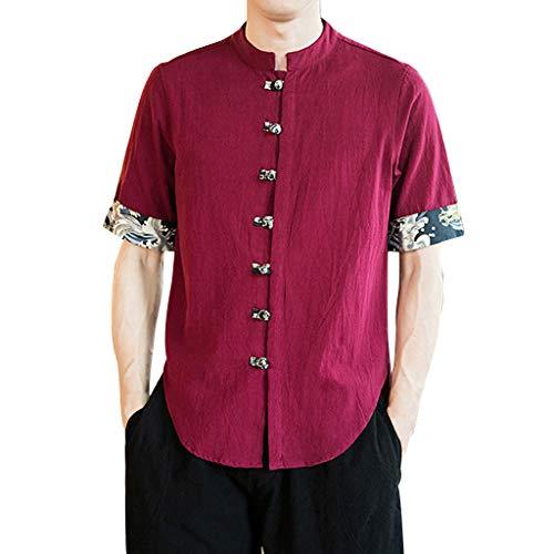 Wkgre Men's Vintage Blouse Baggy Cotton Linen Classic Solid Half Leisure Sleeve Retro T-Shirts Tops Blouse (L, Red) ()