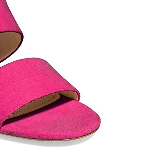 Fsj Dames Double Wraps Muilezels Schoenen Open Teen Hakken Midden Op Sandalen Voor Comfort Maat 4-15 Us Deep Pink