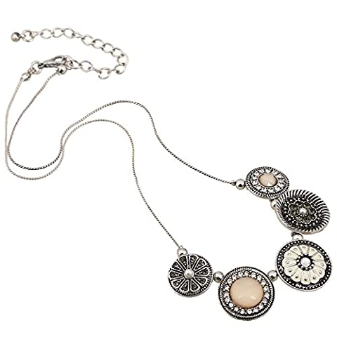 D EXCEED Handmade Etched Enamel Flower Crystal Rhinestone Thin Chain Silver Necklace - Floral Etched Crystal