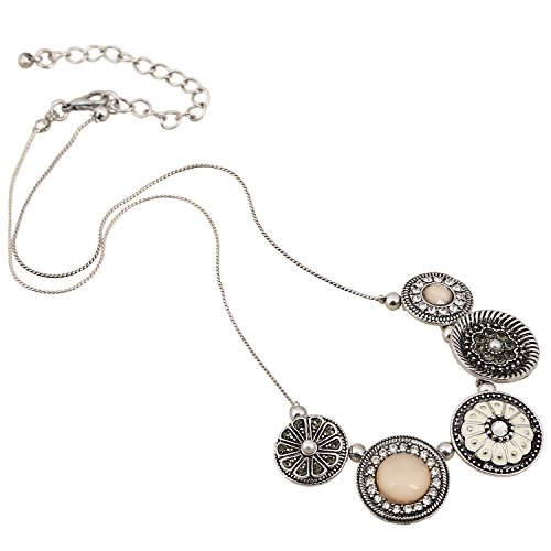 Mother Of Pearl Vintage Necklace - D EXCEED Womens Vintage Flower Statement Necklace Fashion Floral Bib Necklace for Ladies Silver