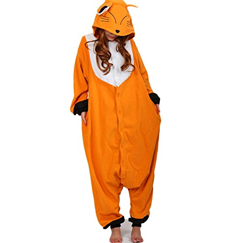 Ikerenwedding Orange Fox Halloween Pajamas Adult Cosply Costume M
