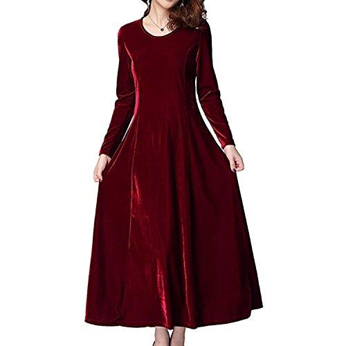 Vestido de Manga Vestido Elegante Mujer Largo Terciopelo Fiesta Wine Maxi Xsayjia Redondo Larga Cuello Red de Vestido Ow0wpqt4
