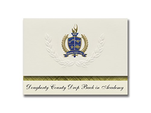Signature Announcements Dougherty County Drop Back in Academy (Albany, GA) Graduation Announcements, Presidential Elite Pack 25 with Gold & Blue Metallic Foil seal
