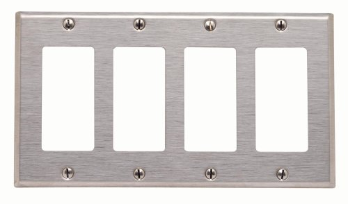 (Leviton 84412-40 4-Gang Decora/GFCI Device Decora Wallplate, 302 Stainless Steel, Device Mount, Stainless Steel)