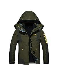 Alomoc 3 in 1 Winter Jacket Outdoor Waterproof Softshell Raincoat Snowboard Clothing