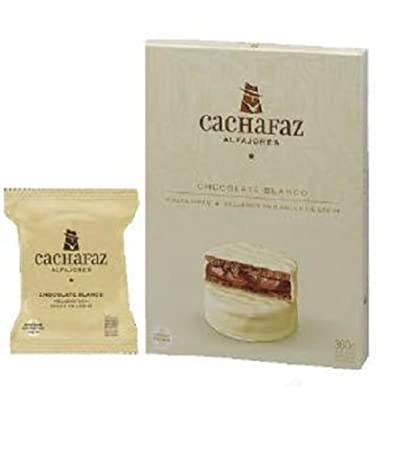 "Cachafaz ""Alfajor Blanco"" Real White Chocolate Ganache Glaze Cookie Sandwich Filled with Dulce"