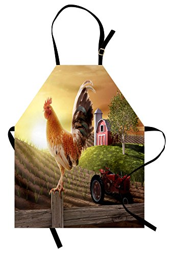 - Lunarable Country Apron, Farm Barn Yard Image with Rooster Animal Early Bird Nature and Rising Sun Print, Unisex Kitchen Bib Apron with Adjustable Neck for Cooking Baking Gardening, Brown Red