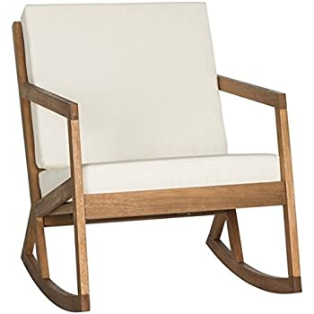 Contemporary Outdoor Living Vernon Brown/ Beige Patio Rocking Chair Made  From Eco Friendly Eucalyptus