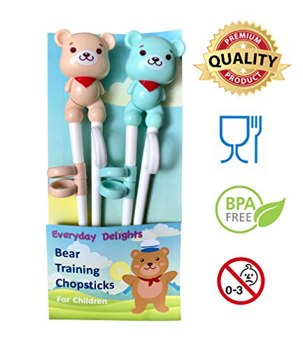 Everyday Training - Everyday Delights Bear Training Chopsticks for Right-handed Children, Kids & Teens, 2 pairs - Cute, Eco-friendly, Reusable, Durable