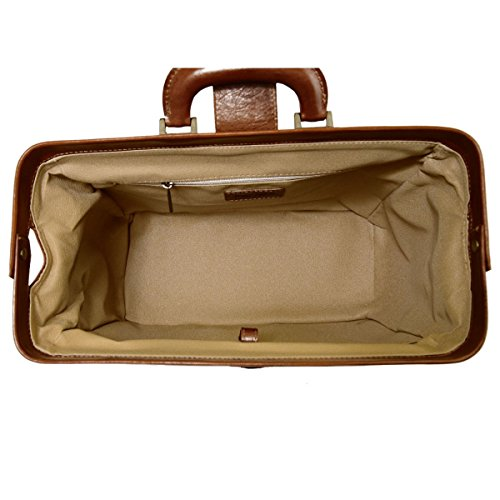 Borsa Per Dottore In Pelle Vera, 1 Scomparto Colore Miele - Pelletteria Toscana Made In Italy - Business