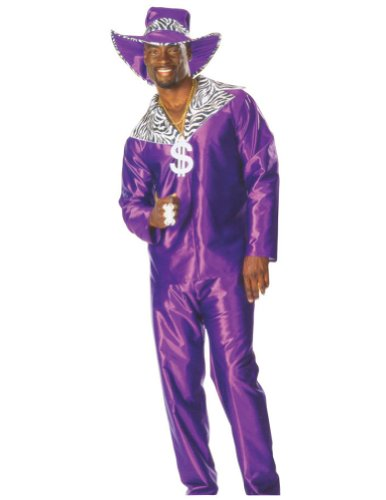 [Mac Daddy Men's Adult Pimp Halloween Costume, Purple, Std up to 44 Jacket Size] (Funny Pimp And Ho Costumes)